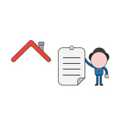businessman character with house roof and holding vector image