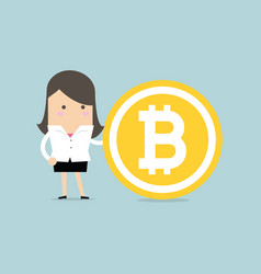 businesswoman with a bitcoin vector image
