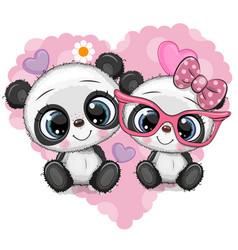 Cartoon pandas on a heart background vector
