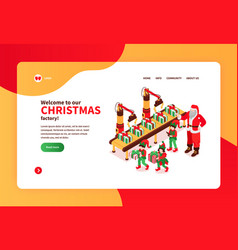 christmas factory website banner vector image
