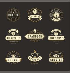 coffee shop logos design templates set vector image
