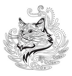 Coloring antistress cat 5 vector