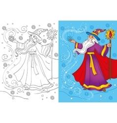 Coloring Book Of Magician Conjures A Snowstorm vector
