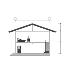 cross section of silhouette modern house vector image