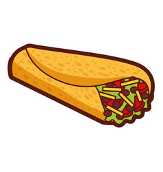 Delicious mexican food burrito vector