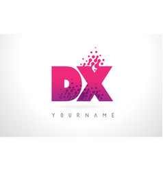 Dx d x letter logo with pink purple color and vector