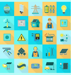 energy equipment icon set flat style vector image