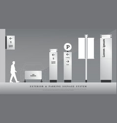 Exterior and parking signage directional pole vector