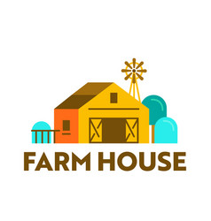 farm house banner with wooden barn on ranch vector image