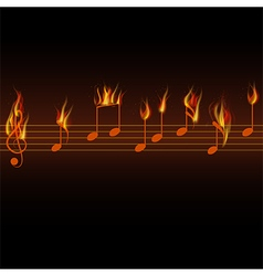 Fire burning musical notes on black background vector image