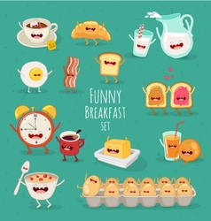 Funny Breakfast set vector