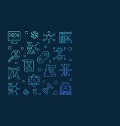 Genetics blue line square banner or design vector