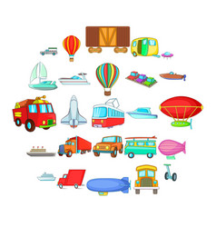 Getting around the world icons set cartoon style vector
