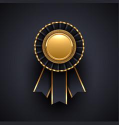 Gold and black award badge with ribbon vector