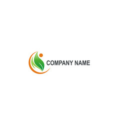 Green leaf people organic company logo vector