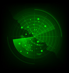 Green radar screen with map vector