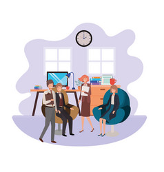 Group people business in work office vector