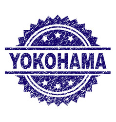 Grunge textured yokohama stamp seal vector