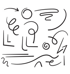 hand drawn doodle line art collection element vector image