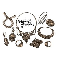 Hand-drawn jewelry set Gold and gems Sketch vector