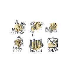 hand drawn labels or logos set for jazz vector image