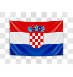 hanging flag croatia republic croatia vector image