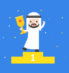 happy cute arab business man holding trophy vector image