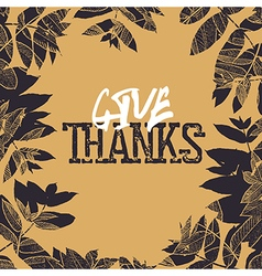 Happy Thanksgiving retro card design Fallen leaves vector image