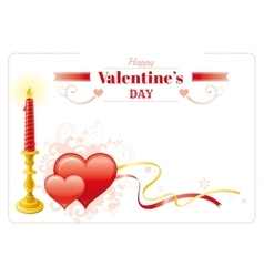 Happy Valentines day border red hearts couple vector image