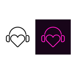 heart with headphones in outline style vector image