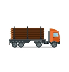 Heavy loaded logging timber truck vector