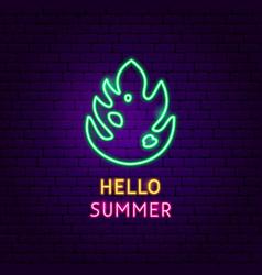 hello summer neon label vector image