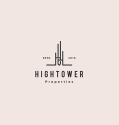 High building tower logo hipster vintage retro vector