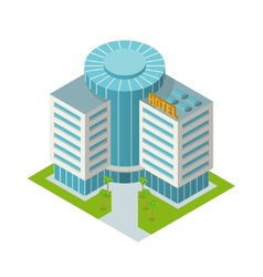 Hotel building isometric vector image