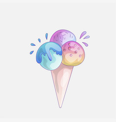 ice cream scoop cartoon icon cute strawberry vector image