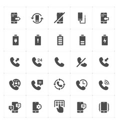 icon set - phone and calling solid icon style vector image