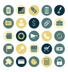 Icons plain round business commerce vector
