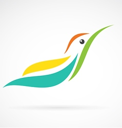 Image of an humming bird design on white backgroun vector