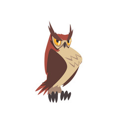 important eagle owl bird funny great horned owl vector image