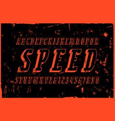 Italic narrow serif bulk font in sport style vector
