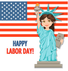 labor day greeting card with usa flag and girl vector image