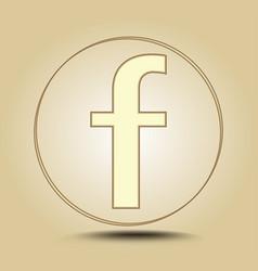 letter f round golden icon on light golden vector image