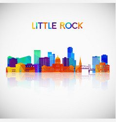 Little rock skyline silhouette in colorful vector