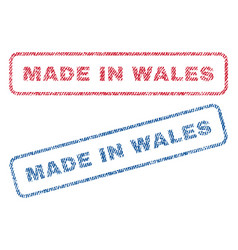 Made in wales textile stamps vector