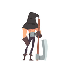 male executioner with black headwear and axe vector image