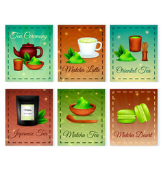 Matcha realistic cards set vector