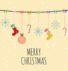 merry christmas composition balls socks and bells vector image
