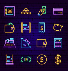 money neon icons vector image