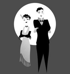 monochrome old-fashioned couple in 20s party style vector image