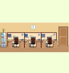 Office room interior including three isolated vector
